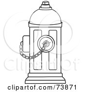 Royalty Free RF Clipart Illustration Of A Black And White Outline Of A Fire Hydrant With A Chain by Pams Clipart
