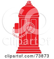 Royalty Free RF Clipart Illustration Of A Red And White Fire Hydrant With A Chain by Pams Clipart
