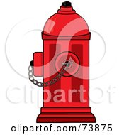 Royalty Free RF Clipart Illustration Of A Bright Red Fire Hydrant With A Chain