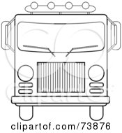 Royalty Free RF Clipart Illustration Of A Black And White Outline Of A Fire Engine by Pams Clipart