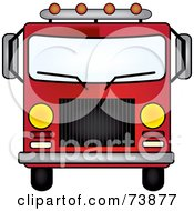 Royalty Free RF Clipart Illustration Of A Dark Red Fire Engine Driving Forward by Pams Clipart
