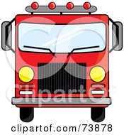 Royalty Free RF Clipart Illustration Of A Red Fire Truck Driving Forward by Pams Clipart