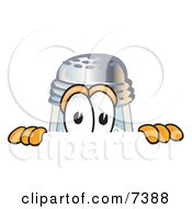 Clipart Picture Of A Salt Shaker Mascot Cartoon Character Peeking Over A Surface