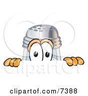 Salt Shaker Mascot Cartoon Character Peeking Over A Surface