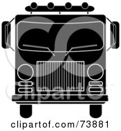 Royalty Free RF Clipart Illustration Of A Black And White Fire Engine by Pams Clipart