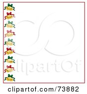 Left Border Of Christmas Bells With Green And Red Bows And Red Trim Over White