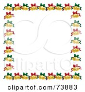 Border Of Christmas Bells With Green And Red Bows Over White