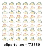 Background Of Faded Christmas Bells With Red And Green Ribbons On White