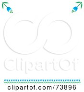White Background With A Blue Tulip Border