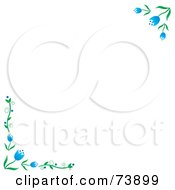 White Background With Blue Spring Tulip Corners