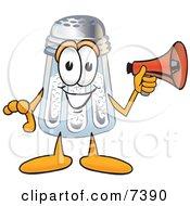 Salt Shaker Mascot Cartoon Character Screaming Into A Megaphone