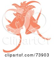 Royalty Free RF Clipart Illustration Of Orange Doves Lilies And Wedding Bells by Pams Clipart