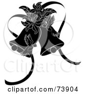 Royalty Free RF Clipart Illustration Of Black And White Doves Lilies And Wedding Bells by Pams Clipart
