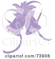 Royalty Free RF Clipart Illustration Of Purple Doves Lilies And Wedding Bells by Pams Clipart