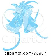Royalty Free RF Clipart Illustration Of Blue Doves Lilies And Wedding Bells by Pams Clipart
