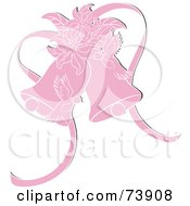 Royalty Free RF Clipart Illustration Of Pink Doves With Lilies And Wedding Bells by Pams Clipart
