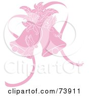 Royalty Free RF Clipart Illustration Of Pink Doves Lilies And Wedding Bells by Pams Clipart