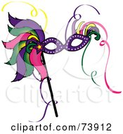 Royalty Free RF Clipart Illustration Of A Colorful Feathered Mardi Gras Mask