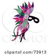 Royalty Free RF Clipart Illustration Of A Black Mardi Gras Mask With Colorful Feathers