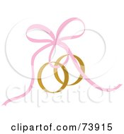 Royalty Free RF Clipart Illustration Of A Pink Ribbon Securing Gold Wedding Rings