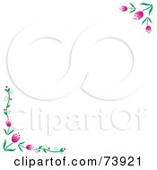 White Background With Pink Spring Tulip Corners