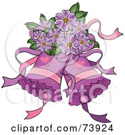Royalty Free RF Clipart Illustration Of Purple Wedding Bells With Hearts And Purple Flowers by Pams Clipart
