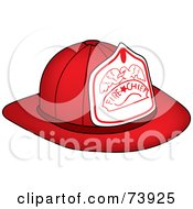 Royalty Free RF Clipart Illustration Of A Red Fire Chief Hat With An Eagle
