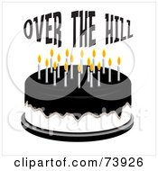 Over The Hill Cake With Black Icing And White Candles