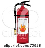 Royalty Free RF Clipart Illustration Of A Red Fire Extinguisher With Instructions