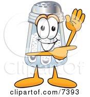 Salt Shaker Mascot Cartoon Character Waving And Pointing