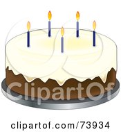Royalty Free RF Clipart Illustration Of A Vanilla Birthday Cake With Icing And Blue Candles by Pams Clipart