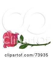 Royalty Free RF Clipart Illustration Of A Single Pink Rose On A Long Thorny Stem by Pams Clipart