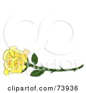 Royalty Free RF Clipart Illustration Of A Long Stemmed Yellow Rose by Pams Clipart