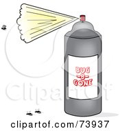 Royalty Free RF Clipart Illustration Of A Gray Can Of Spraying Bug Spray And Dead Flies