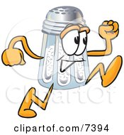 Clipart Picture Of A Salt Shaker Mascot Cartoon Character Running