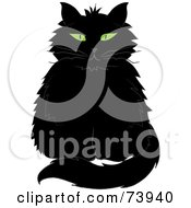 Royalty Free RF Clipart Illustration Of A Black Longhair Cat With Green Eyes by Pams Clipart