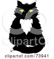 Royalty Free RF Clipart Illustration Of A Sitting Yellow Eyed Long Haired Tuxedo Cat by Pams Clipart