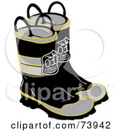 Royalty Free RF Clipart Illustration Of A Pair Of Black And Gray Firefighter Boots