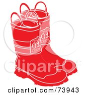 Royalty Free RF Clipart Illustration Of A Pair Of Red And White Firefighter Boots by Pams Clipart