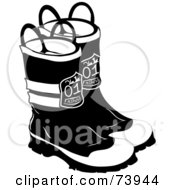 Royalty Free RF Clipart Illustration Of A Pair Of Black And White Firefighter Boots by Pams Clipart