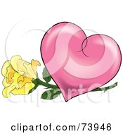 Royalty Free RF Clipart Illustration Of A Yellow Rose Under A Pink Shaded Heart by Pams Clipart