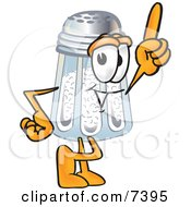 Clipart Picture Of A Salt Shaker Mascot Cartoon Character Pointing Upwards