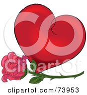 Royalty Free RF Clipart Illustration Of A Pink Rose In Front Of A Red Shaded Heart by Pams Clipart