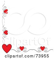 Red Heart And Scroll Corner Border On A White Background