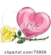 Royalty Free RF Clipart Illustration Of A Yellow Rose Under A Pink Shaded Love Heart by Pams Clipart