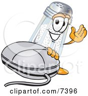 Salt Shaker Mascot Cartoon Character With A Computer Mouse