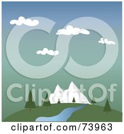 Royalty Free RF Clipart Illustration Of A Landscape Of A Spring Creek And Trees Near Mountains by Pams Clipart