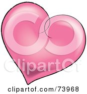 Royalty Free RF Clipart Illustration Of A Pink Shaded Heart With A Black Outline by Pams Clipart