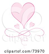 Royalty Free RF Clipart Illustration Of A Large Pink Heart With Two Small Hearts Over A Swirl by Pams Clipart