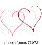Royalty Free RF Clipart Illustration Of Two Sketched Red And Pink Heart Outlines by Pams Clipart